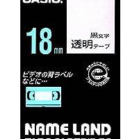 カシオ計算機 ネームランド テープカートリッジ 透明ニ黒文字18ミリ幅 XR-18X/51568269