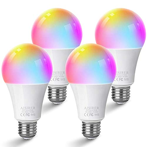 AISIRER Alexa Glühbirnen E27 Smart LED-Lampe WLAN Birne Kompatibel mit Amazon Alexa Echo,Echo Dot Google Home, kein Hub benötigt, Wifi RGB light Dimmbares Mehreren Farben und Warmweiß licht (4 Stück)
