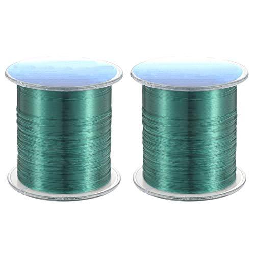 Xinzistar 2 carretes de sedal de pesca de 1000 m, monofilamento, hilo de nailon de 0,26 mm de diámetro, color verde