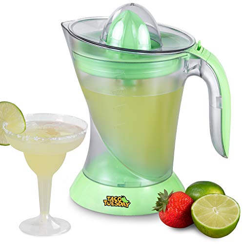 Nostalgia Taco Tuesday Electric Lime Juicer & Margarita Kit, Holds Margaritas, Daiquiris, Smoothies, Slushies, with Salt/Sugar Rimmer, Includes Four 8-Oz. Glasses, 32-Ounce, Green