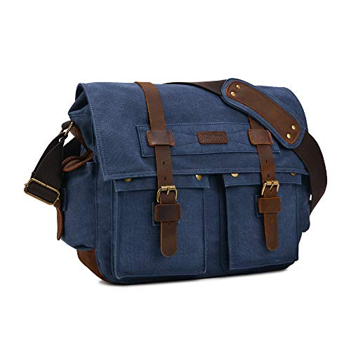 Kattee Military Messenger Bag Canvas Leather Shoulder Bag Fits 15.6 Inch...