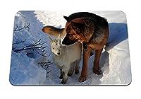 22cmx18cm マウスパッド (犬狩り雪冬) パターンカスタムの マウスパッド