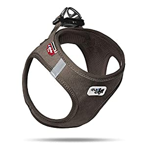 Curli Vest Harness Cord with Air-Mesh Lining Step-in Dog Harness Lightweight Breathable Dog Elegant Durable Harnesses for Small Dogs Brown S