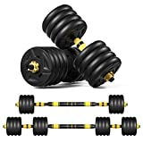 ER KANG Adjustable Fitness Dumbbells Set, 88lbs Free Weights Dumbbells with 19.7 Connecting Rod Used...