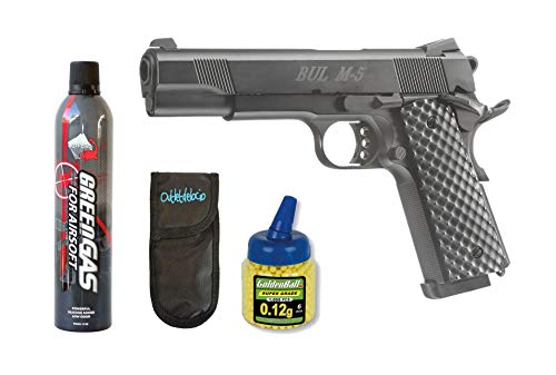 Outletdelocio.. Pack Pistola Airsoft Bul Classic M5 Government 1911 Blowback. Metalica. 6mm. Funcionamiento por Gas. + Gas + Bolas + Funda Portabalines. 18398/21993/23054