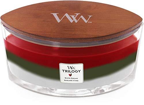 Woodwick Trilogy Wintergirlande – Crimson Beeren, Frasier Tanne, weiße Teakduft, Sanduhr mit knisterndem Holzdocht in Klarglas, Ellipse Brenndauer Ca 50h