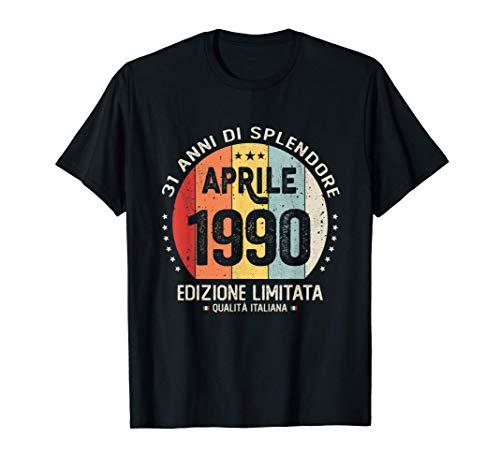 Vintage Aprile 1990 donna uomo Regali per 31 anni Compleanno Maglietta