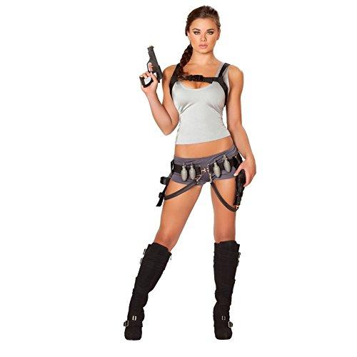 MyPartyShirt - Disfraz sexy de cazadora del tesoro para mujer, disfraz de Lara Croft Tomb Raider