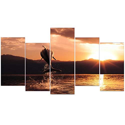 XTFFBH Bild Auf Leinwand Fünf Teile 5 Wanddekoration Design Wand Bild Delfine Springen Im Sonnenuntergang Leinwand Bild Für Wohnzimmer Schlafzimmer