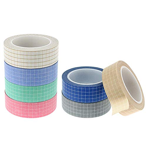 Rayong 7 Rollen Washi Tape, 15mm Washi Tape Set,Washi Masking Tape, Dekoratives Klebeband für Scrapbooking DIY Handwerk, 10m/Rollen