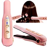 2 in 1 Professional Hair Straightener and Curler USB Rechargeable Shutdown and Boot Protection Function Flat Iron for Hair Ceramic Heating Material for Styling Makes Hairs Smoother and Healthier