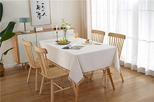 HJCC Mantel Minimalista Moderno Mantel Blanco Color Sólido con Borlas para Mesa De Comedor, Fiestas Buffet, Se Puede Lavar Y Reutilizar,140X160CM