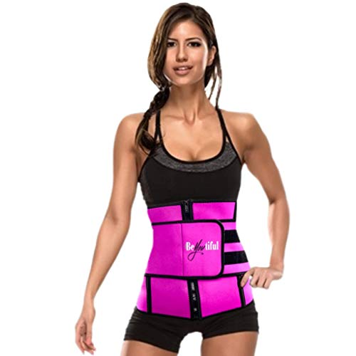BeYOUtiful Adjustable Waist Trainer for Women, Neoprene Blend Material, Body Shaper for Women, Increase Calorie Burn, Waist Trimmer, Lightweight Fit (Pink, XL)