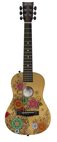 First Act Acoustic Guitar, 30 Inch - Top Features Flower Design - Brass Acoustic Guitar Strings, Tuning Gear, String Post Covers, Steel-Reinforced Neck, Strap Buttons - Musical Instruments