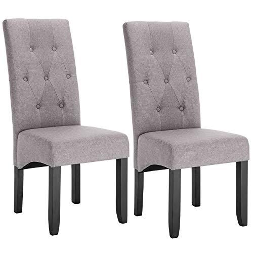 WOLTU Lot de 2 Chaises de Salle à Manger chaises de Cuisine rembourrée en Lin Pieds en Bois Massif,Gris Clair BH106hgr-2