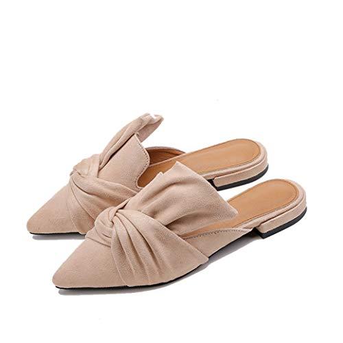 Frauen Hausschuhe Flock Fliege Weibliche Niedrigen Absätzen Schuhe Spitz Damen Frau Pantoffel