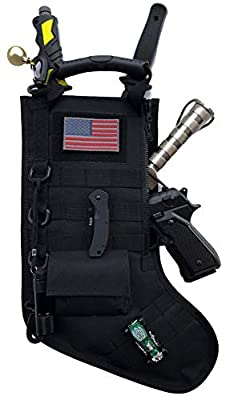 Christmas Stocking with Velcro US Flag Patch