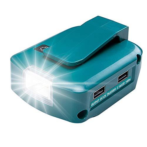 Adaptador Adaptador para Makita BL1860 con 2 puertos USB y el último proyector LED Adaptador portátil 14,4 V/18 V de alta calidad con batería de ion de litio de salida 12 V BL1430 BL1830