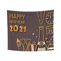 タペストリーは2021年を祝う新年の手紙の印刷漫画の絵画壁掛け家のリビングルームの装飾180x180cm