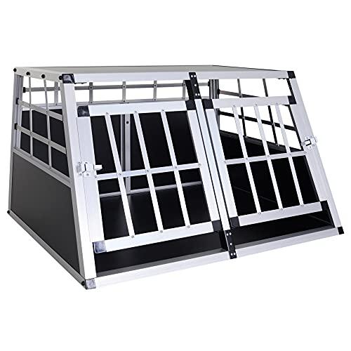 HOMCOM Cage de Transport pour Chien Animaux Aluminium XL Caisse boîte Box de Transport Voiture Double Porte Forme Trapeze 89,5 x 68,5 x 50 cm Argent Noir