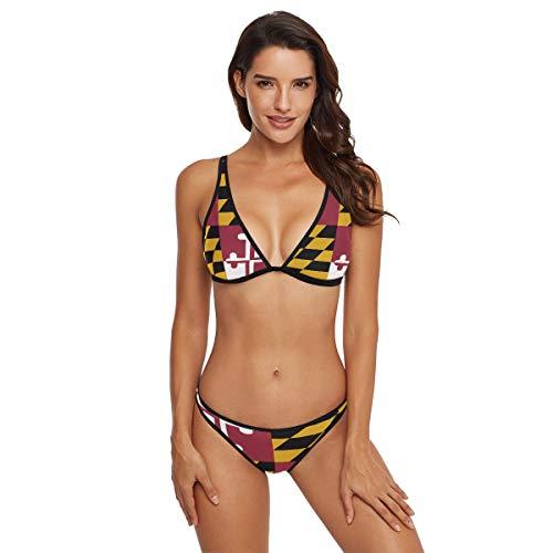 DERLONKAJE Women's Maryland Flag Bikini Swimsuit Triangle Two Piece Bikini Swimwear
