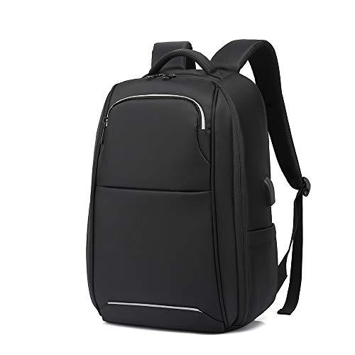 Laptop Rucksack Herren Laptop Backpack Rucksack Jungen Teenager 15.6 Zoll Wasserabweisend Schulrucksack mit USB-Ladeanschluss für Arbeit Outdoor Reisen Camping-Schwarz