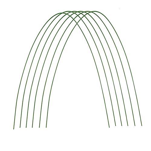 Vurucaa Flexible Garten-Tunnel, stabile Metall-Gartenpfähle, kunststoffbeschichtete Stahlrohre, Pflanzenstützstäbe für Tomaten, Gurken, Erdbeerbaum, Grün, 6 Stück