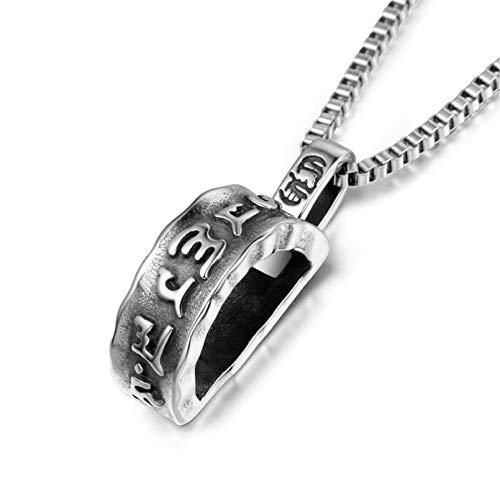 de joyería collar Joyería de acero de titanio Collar budista Colgante de mantra de seis caracteres Colgante de mantra religioso de seis caracteres para hombre Regalo de cumpleaños de la joyería