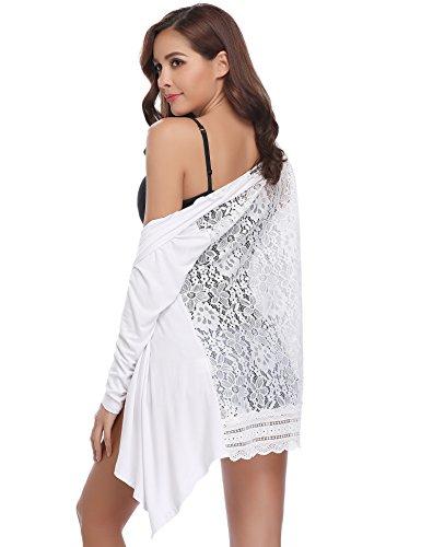 Abollria Damen Lang Cardigan Leichte Offene Jacke mit Spitze Rücken Elegante Festliche Strickjacke für Sommer Weiß, L