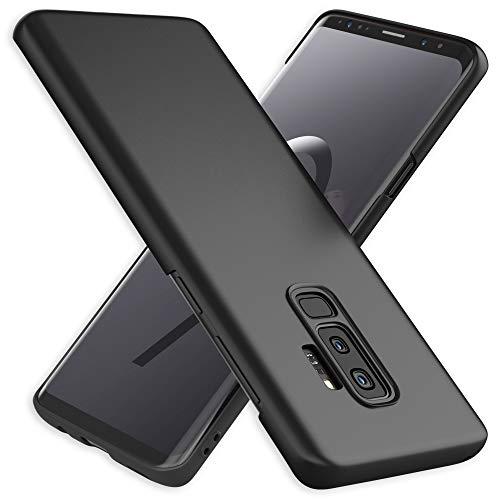 NALIA Handyhülle kompatibel mit Samsung Galaxy S9 Plus, Dünnes Hard-Hülle Hülle Schutzhülle Matt, Ultra-Slim Cover Etui Handy-Tasche, Ultra-Slim Smart-Phone Backcover Skin Bumper, Farbe:Schwarz