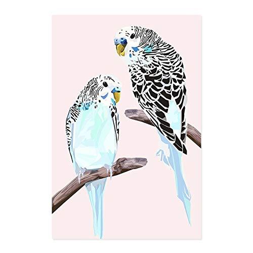 Wellensittich auf Zweig Kunstdruck Vogel Poster Leinwand Malerei Wandbild Druck Wohnzimmer Galerie zu Hause rahmenlose dekorative Leinwand Malerei A14 30x40cm