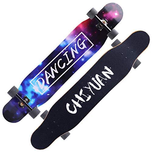 AYYSHOP 46 Zoll Skateboard Anfänger Longboard Erwachsene Jungen und Mädchen professionelle Ahorn Tanzbrett,N