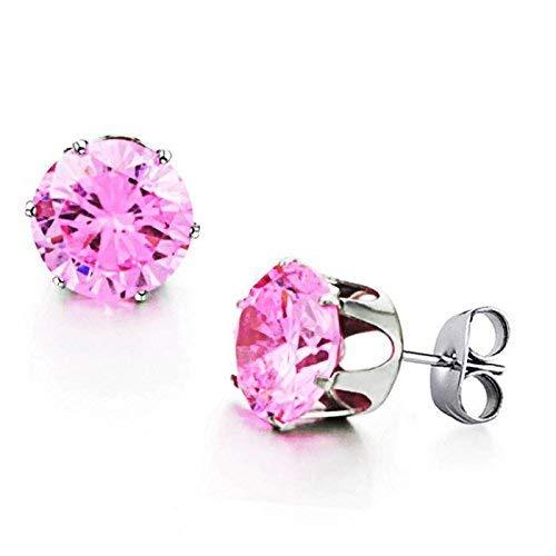 Stijlvolle eenvoud hypoallergene mode trend zoet roze kristal diamant mode titanium staal vrouwelijke oor nagel poeder sieraden, stijlvolle eenvoud stijlvolle eenvoud oorbellen, ZS