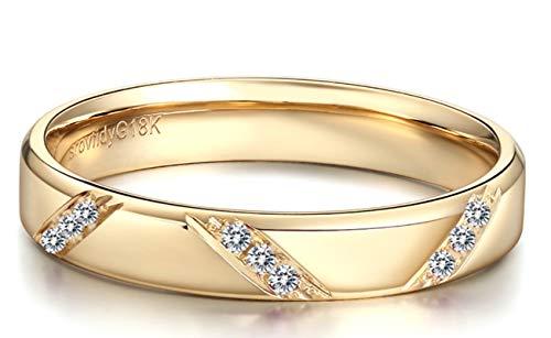 Blisfille Anillo Mujer Oro Diamante Joyería Anillo 18 Kilates de Diamante Anillo de Oro Rosa,Talla de 11 (Tamaño Personalizable)