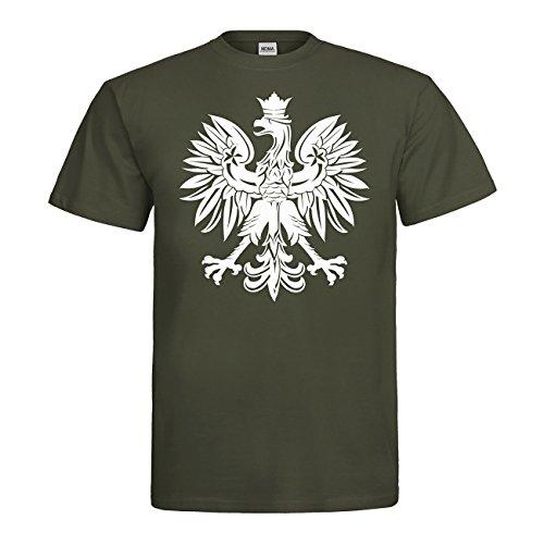 MDMA T-Shirt Polska Adler Fahne Wappen N14-mdma-t00662-364 Textil khaki / Motiv weiss Gr. XL