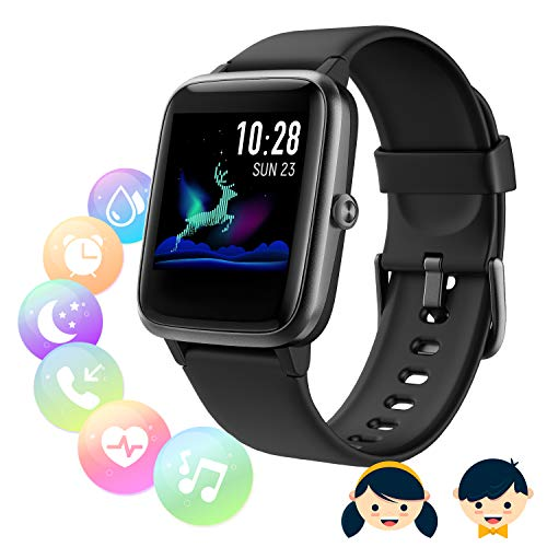 SmartWatch Fitness Tracker,Fitness Armband mit herzfrequenz,Smart Watch IP68Wasserdicht Fitness Uhr,Voller Touchscreen mit Musiksteuerfunktion Schlafmonitor für IOS Android Damen Herren Kinder