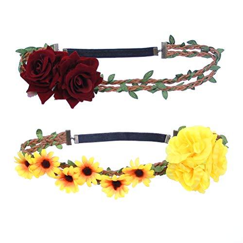 Flower crown garland Headband Headdress hair Wreath Hawaiian style wedding party (sunflower+ red rose)