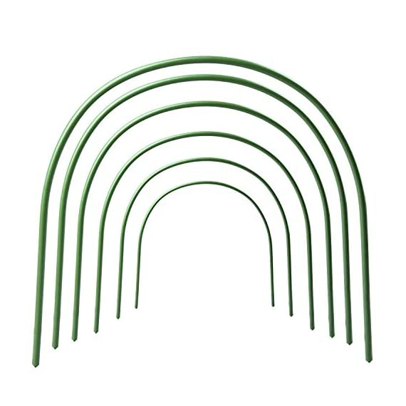 F. O. T 6pcs greenhouse hoops rust-free grow tunnel tunnel, 4ft long steel with plastic coated plant supports for garden… 1 ►material--high-qualityplasticcoatedsteelpipe,noteasytorust,canbeusedforalongtime. ►size--curvedtubelong120cm/4ft(thesizebeforebending),wide50cm/19. 7inch,high48cm/18. 9inch(thesizeafterbending),tubediameter11mm/0. 43inch. eachpackagecontains6hoops. Gardenfabricnotincluded. ►easytosetup--comescompletewithsharpenedpointsonbothsidesforeaseofplacement. washable,reusable,flatforstorage. createsafavorablemicroclimateforyourplants.