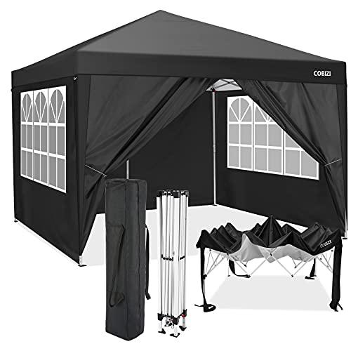 3x3M Pavillon Pop-up Zelt Outdoor Garden Hochleistungs-Pavillon mit 4 Seitenwänden, 210D wasserdichte Abdeckung (Schwarz, 3x3M)