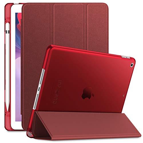 INFILAND Hülle für iPad 10.2 inch(8.Gen 2020/7.Gen 2019), iPad 8 Generation Hülle,Superleicht Transluzent Schutzhülle Hülle mit Stifthalter,Auto Schlaf/Aufwach,Rotwein