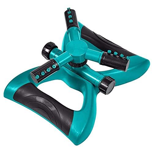 UNCOTARILY Aspersor de jardín, aspersor automático de 360 grados, giratorio de 3 brazos, para un riego uniforme gracias a los cabezales de boquilla giratorios precisos