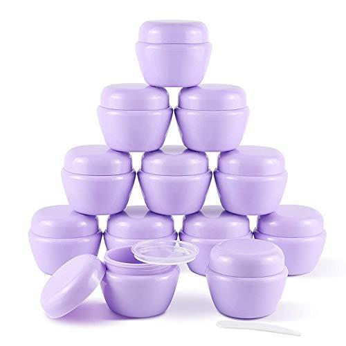 12 Piezas de 50 ml (1,7 oz) de Mini frascos de plástico con Tapas y revestimientos Interiores Recipientes de loción vacíos Recipientes de Crema de Viaje(púrpura)