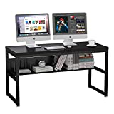 ZIOCCEH Black Gaming Desk with Shelf Metal Home Office Desk 55 inch, Large Industrial Desk with Storage Shelves, Study Table Writing Corner Desk, Black Computer Desk