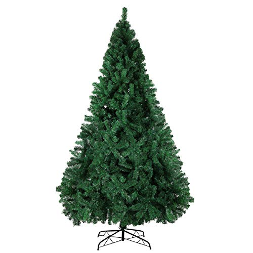 Green Christmas Tree Premium Hinged Artificial Pine Tree with Solid Metal Stand and 100 Decorations,1500Tips (Green, 8FT)