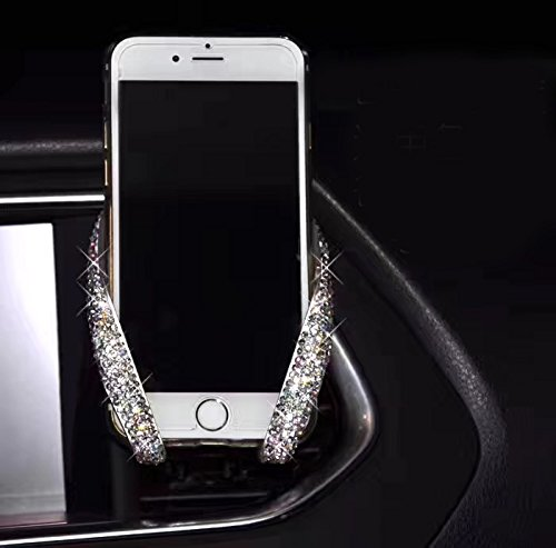 Bestbling Luxury Fashionable Convenient Bling Rhinestone Crystal Car Dash Air Vent Slip-On Adjustable Phone Holder for Easy View GPS Screen (Silver M Holder)