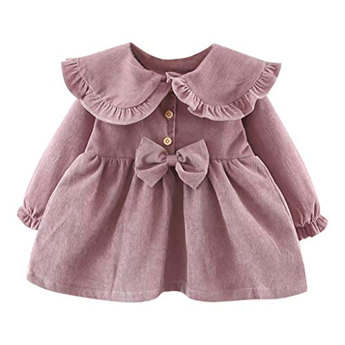 Yanhoo Kleinkind Baby Kinder Mädchen Solide Rüschen Bowtie Kleid Freizeitkleidung (3M-4Y) Kinder Langarm einfarbig Cord Rüschenschleifenkleid