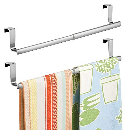mDesign Adjustable, Expandable Kitchen Over Cabinet Towel Bar - Hang on Inside or Outside of Doors, Storage for Hand, Dish, Tea Towels - 9.25