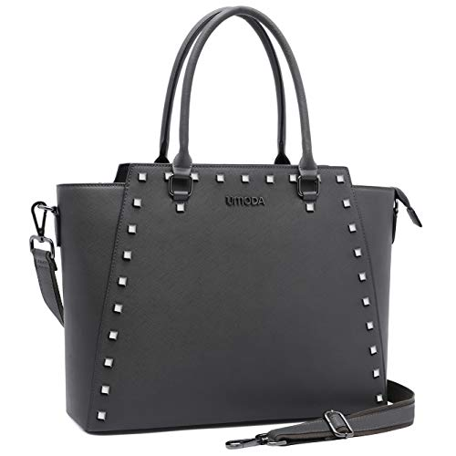 UMODA Laptop Bag for Women,13-15.6 Inch Padded Laptop Tote Bag,Multi Pockets Computer Bags for Women,Gray