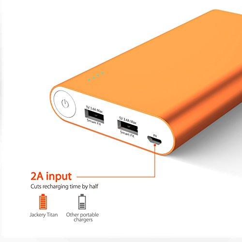 Jackery Titan 20100mAh Caricabatterie da viaggio Premium - Caricabatterie portatile e batteria esterna con tecnologia Smart-Fit per iPhone, Galaxy e altri dispositivi intelligenti - Arancio