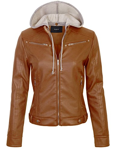 KOGMO Womens Faux PU Leather Zip Up Casual Moto Jacket With Hoodie-M-Cognac